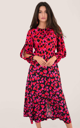 Puff Sleeve Midaxi Dress In Red Heart Print by Closet London Product photo