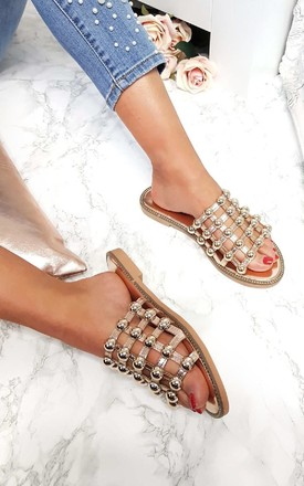 Liza Studded Caged Open Toe Sandals in Rose Gold by IKRUSH