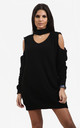 Piper Black Cold Shoulder Knitted Dress with Choker by Oops Fashion