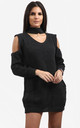Piper Charcoal Grey Cold Shoulder Knitted Dress with Choker by Oops Fashion