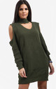 Piper Khaki Cold Shoulder Knitted Dress with Choker by Oops Fashion