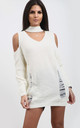 Piper Cream Cold Shoulder Knitted Dress with Choker by Oops Fashion