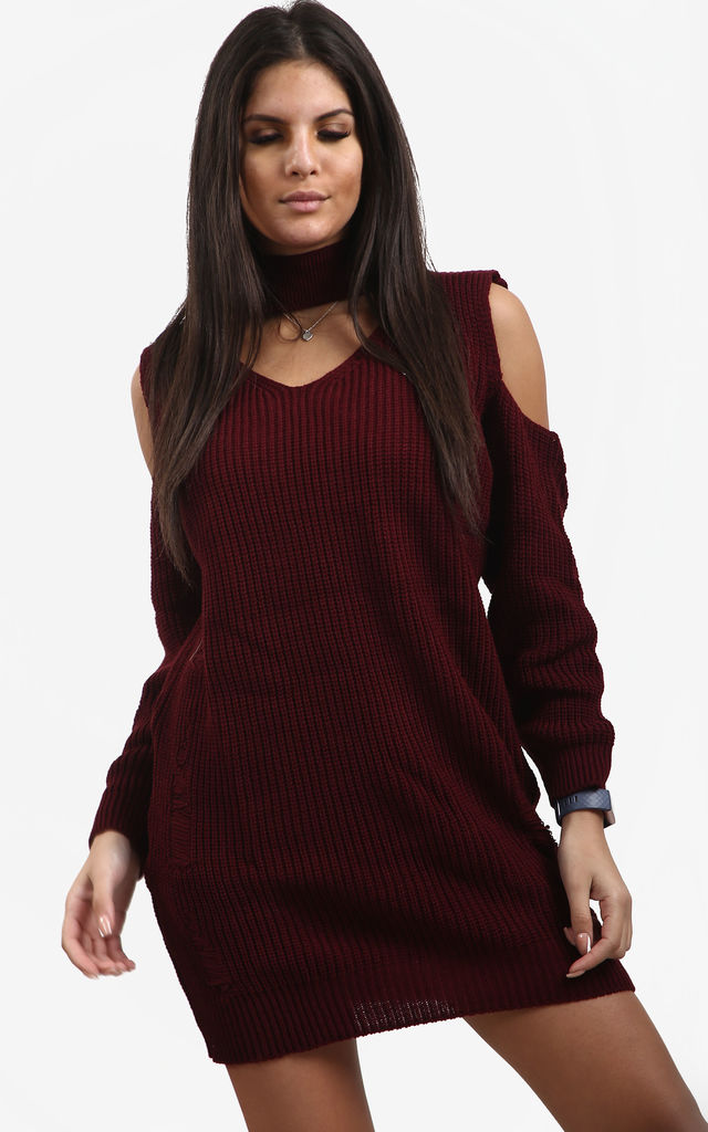 Piper Wine Red Cold Shoulder Knitted Dress with Choker by Oops Fashion
