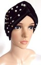 Black Velvet and Pearl Bead Turban by Olivia Divine Jewellery