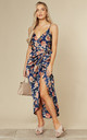 Tie Side Wrap Silky Dress in Navy Orange Floral by Another Look