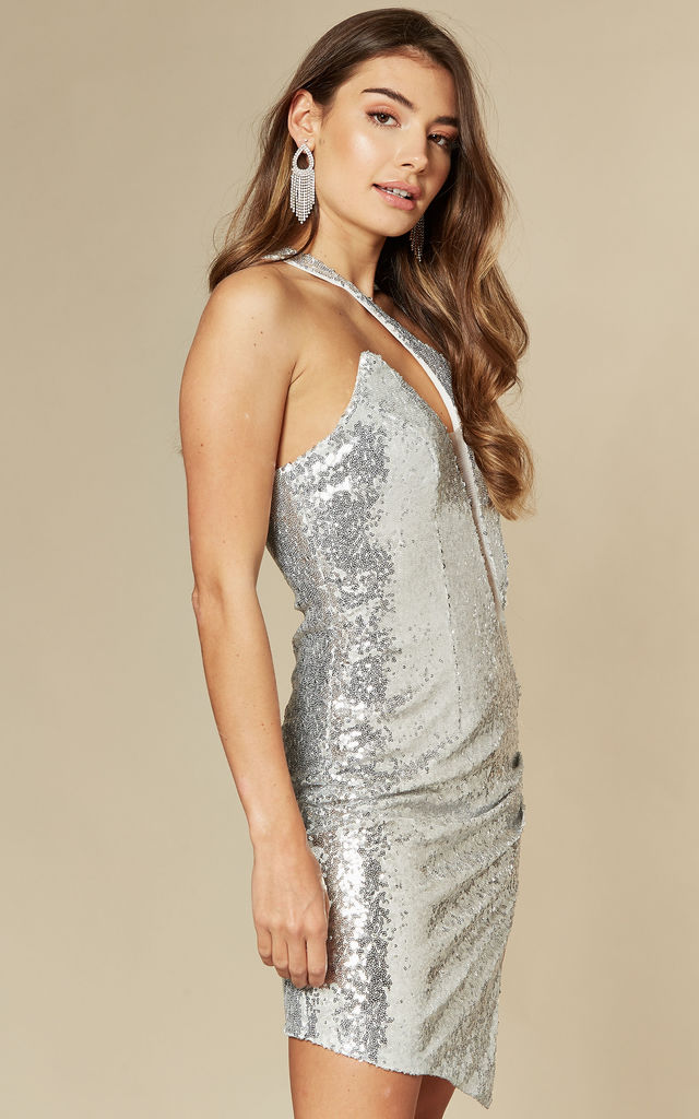 RARE FIND SILVER ONE SHOULDER SEQUIN DRESS WITH SLIT by Nazz Collection