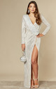 GLEAMING GODDESS SILVER SEQUIN MAXI DRESS by Nazz Collection