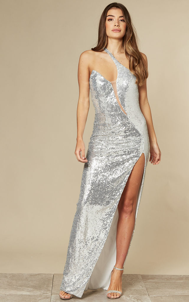 SHINE ON ME SILVER SEQUIN MAXI DRESS WITH ONE SHOULDER by Nazz Collection
