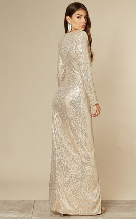 GLEAMING GODDESS SEQUIN MAXI DRESS IN CHAMPAGNE GOLD by Nazz Collection
