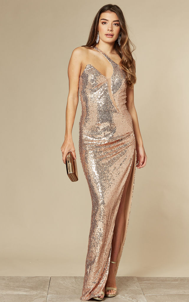 SHINE ON ME ROSE GOLD SEQUIN MAXI DRESS WITH ONE SHOULDER by Nazz Collection