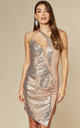 RARE FIND ROSE GOLD ONE SHOULDER SEQUIN DRESS WITH SLIT by Nazz Collection