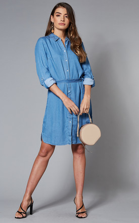 Denim Shirt Dress With Waist Tie In Medium Blue by VILA Product photo