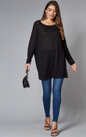 Oversized Knitted Tunic In Black by VILA Product photo