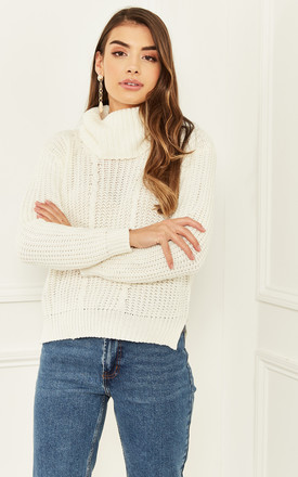 Roll Neck Long Sleeved Knitted Jumper In Cream by Bella and Blue Product photo