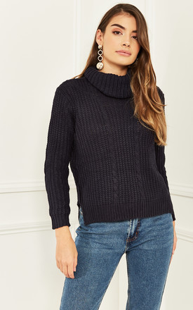 Roll Neck Long Sleeved Knitted Jumper In Navy by Bella and Blue Product photo