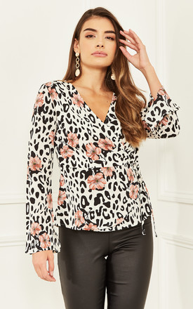 Wrap Top In Black / White Leopard And Floral Print by Bella and Blue Product photo