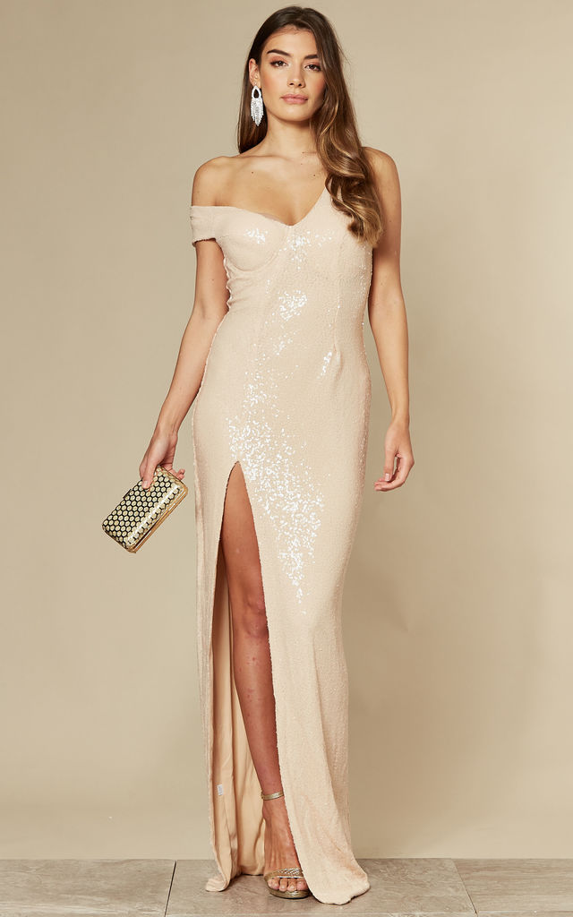 Marilyn Champagne Nude Sequin Slit Maxi Dress With One Bardot Shoulder by Nazz Collection