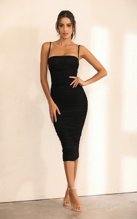 Ruched Mesh Bodycon Midi Dress In Black by Miss Floral Product photo