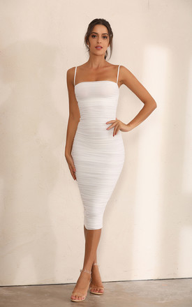 Ruched Mesh Bodycon Midi Dress In White by Miss Floral Product photo