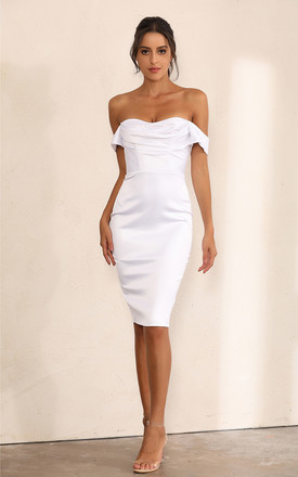 Off Shoulder Bodycon Dress In White Satin by Miss Floral Product photo