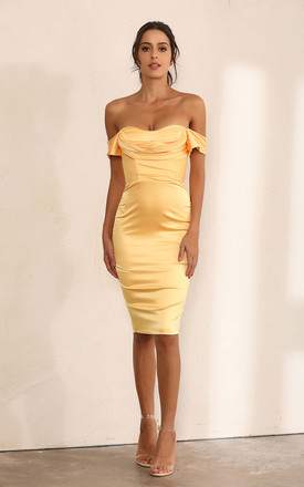Off Shoulder Bodycon Dress In Yellow Satin by Miss Floral Product photo