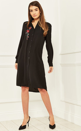 Shirt Dress With Floral Embroidery In Black by Bella and Blue Product photo