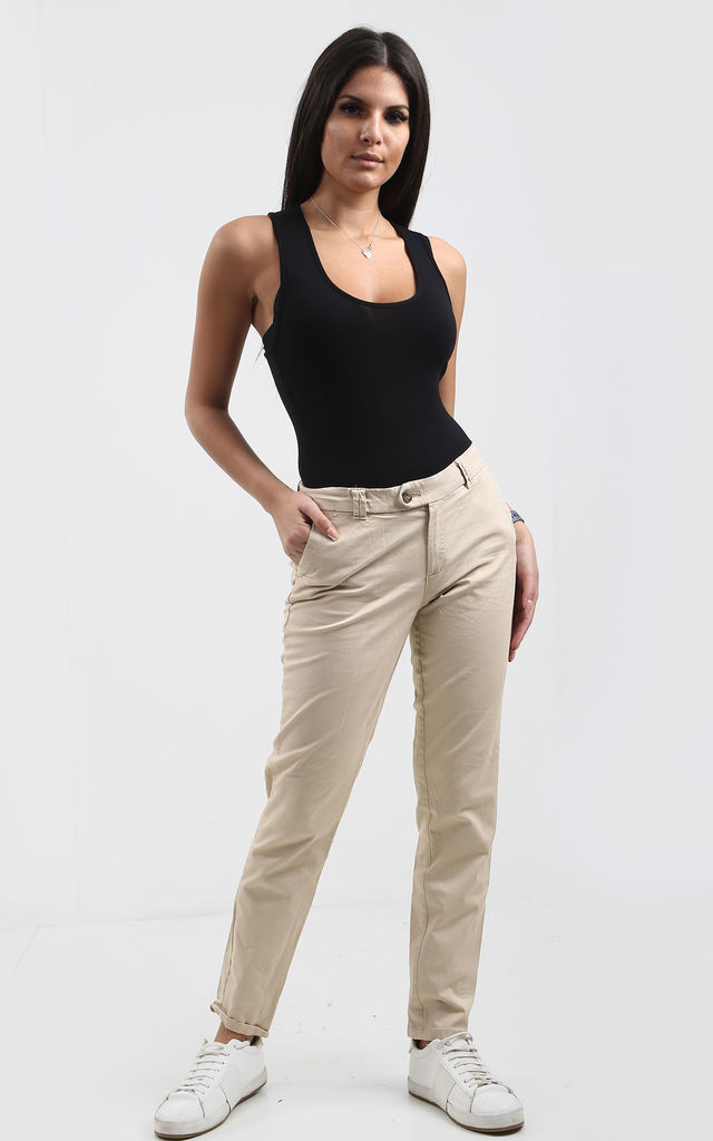 Rubi Skinny Fit Jeans in Stone by Oops Fashion