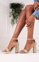 Selena Gold Strappy BlockHeel by Linzi
