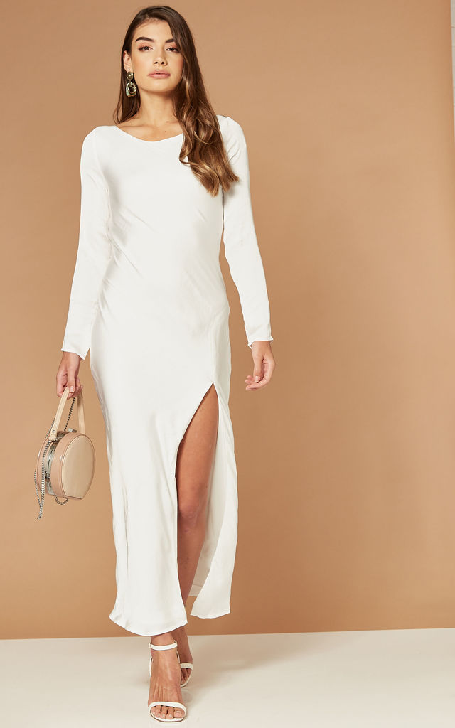 RIVER MAXI DRESS WITH OPEN BACK IN WHITE by Bardot