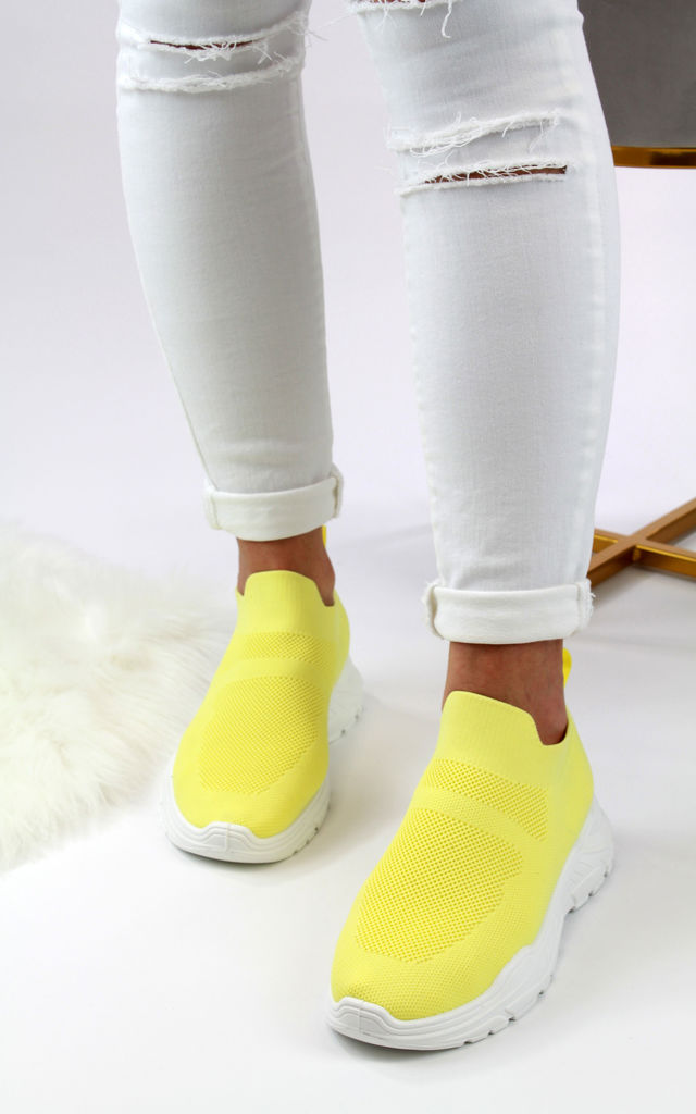 Libby Yellow Sock Slip On Trainers by Larena Fashion