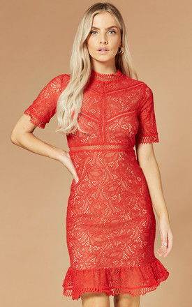 Theodora Lace Mini Dress In Red by Bardot Product photo