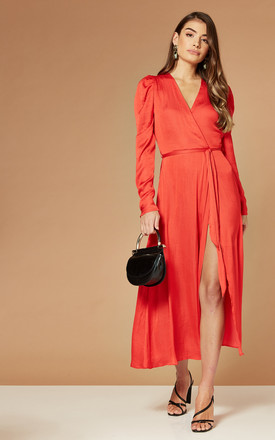 Alivia Satin Wrap Dress In Red by Bardot Product photo