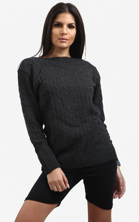 Kelly Long Sleeve Cable Knit Jumper In Black by Oops Fashion
