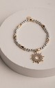 Lowri Beaded Bracelet in Silver/Gold by Olia Jewellery