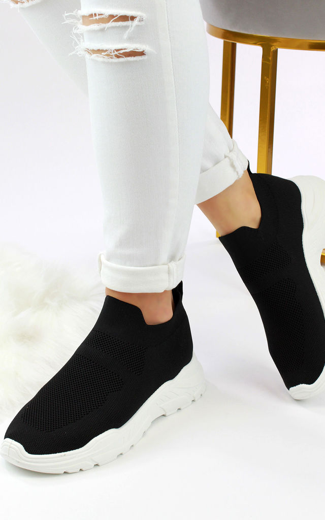 Libby Black Sock Slip On Trainers by Larena Fashion