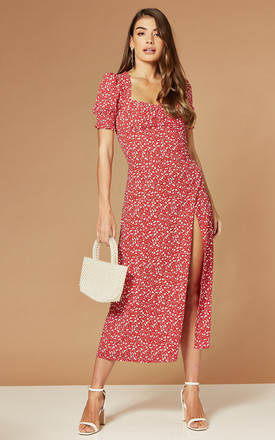 Millie Midi Dress In Red Ditsy Floral by Bardot Product photo