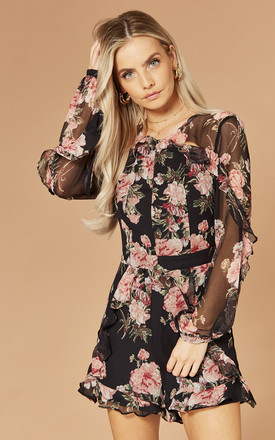 Paige Playsuit In Black Floral Print by Bardot Product photo