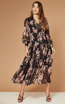Midi Button Front Dress In Black Floral by Bardot Product photo