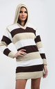 Jamelia Stone Brown Striped Jumper Dress with Hood by Oops Fashion