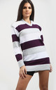 Jamelia Grey & Purple Striped Jumper Dress with Hood by Oops Fashion