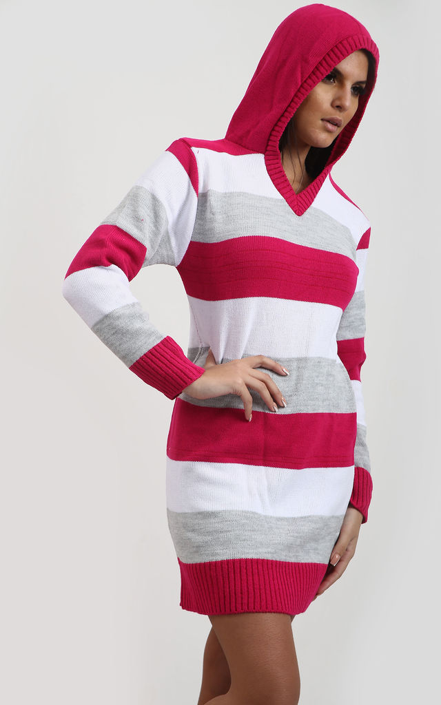 Jamelia Pink & Grey Striped Jumper Dress with Hood by Oops Fashion
