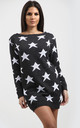 Bardot Jumper Dress with Star Print In Charcoal by Oops Fashion