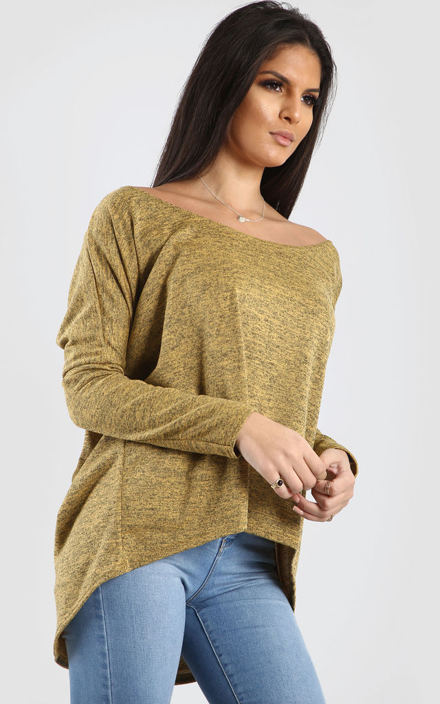 Mae Off Shoulder Dipped Hem Top In Mustard Marl by Oops Fashion