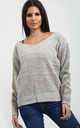 Sophia Off Shoulder Jumper In Grey Marl by Oops Fashion