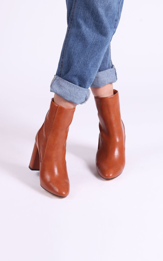 Only Love Tan Nappa Heeled Boot by Linzi