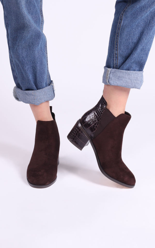 Donna Ankle Boots in Brown Suede & Croc by Linzi