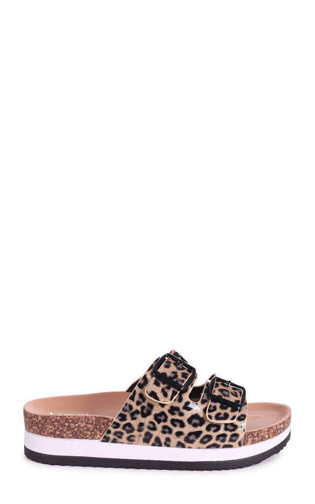 Darling Buckled Slip On Flatforms in Leopard Patent Leather by Linzi