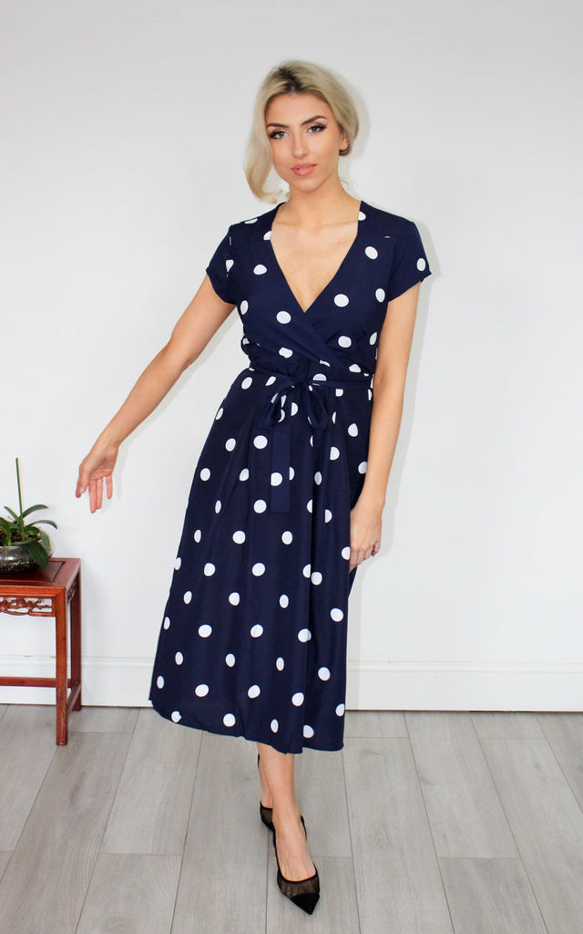 Midi Tea Dress in Blue Polka Dot by GIGILAND UK