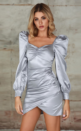 Ruched Puff Sleeve Satin Dress In Grey by Miss Floral Product photo