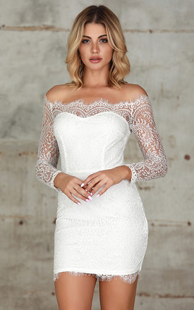 Lace Overlay Off Shoulder Bodycon Dress In White by Miss Floral Product photo